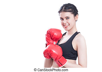 woman with the red boxing gloves