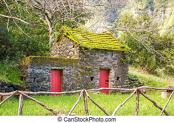 Cute, little building in Chao da Ribeira, Madeira, Portugal