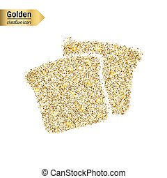 Gold glitter vector icon of bread isolated on background. Art creative concept illustration for web, glow light confetti, bright sequins, sparkle tinsel, abstract bling, shimmer dust, foil.
