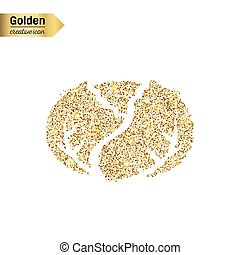 Gold glitter vector icon of cabbage isolated on background. Art creative concept illustration for web, glow light confetti, bright sequins, sparkle tinsel, abstract bling, shimmer dust, foil.
