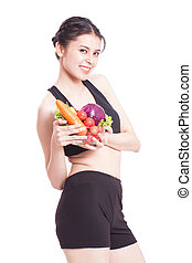 young woman with vegetables - Healthy eating, happy young...