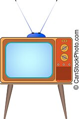 Vector illustration cartoon old TV on the legs with the...