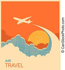 Airplane flying in sky.Vector air travel background for text
