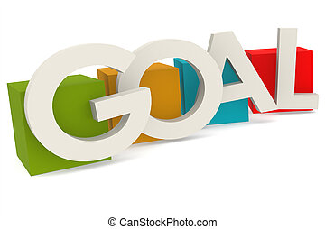 Colorful cube with goal word