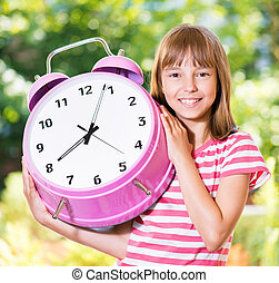 Girl back to school - Outdoor portrait of happy girl 10-11...
