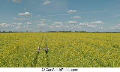 Happy couple running in rape field. Aerial View.