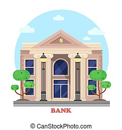 Financial building facade or bank architecture exterior with pillar or column and bushes or trees on sides with lamp or lantern. Cityscape social business construction for credit or money lending