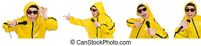 Funny performer with mic isolated on the white