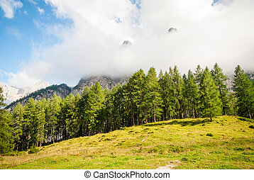 Mountain peaks in Slovenian Alps - Mountain peaks looking...