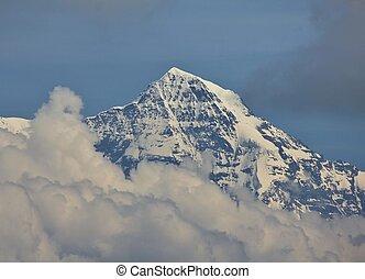 nubi, raggiungimento,  monch,  MT, picco, fuori