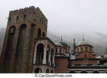 Rila monastery in Bulgaria through the winter, detail