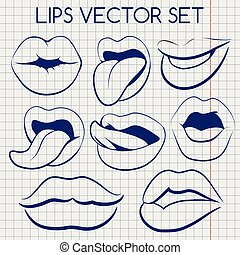 Lips silhouettes ball pen vector icons