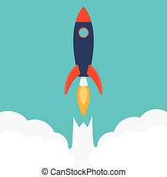 Rocket ship in a flat styleVector illustration with 3d...