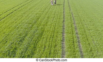 Boy and girl running on the green field. Aerial View.