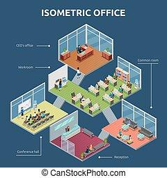 Isometric Office 3 Floor Building Plan