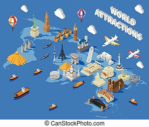 Isometric World Famous Landmarks Map POster - World famous...