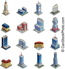 Building Isometric Icons Set - Modern multi-storeyed...