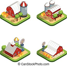 Farm Isometric Isolated Compositions - Countryside landscape...