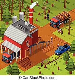 Lumberjack Isometric Composition - Lumberjack isometric...