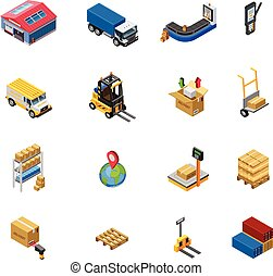 Warehouse Isometric Icons Set - Warehouse isometric icons...