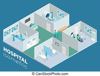 Isometric Medical Hospital Interior View Poster - Isometric...