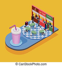 Fast Food Isometric Concept - Fast food isometric concept...
