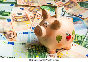 Piggy bank in a pile of euro money