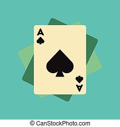 flat icon on background poker playing cards