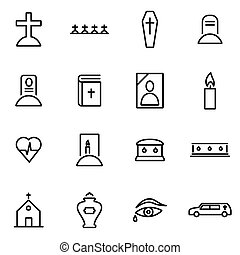 Vector illustration of thin line icons - funeral on white...
