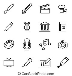 Vector illustration of thin line icons - art