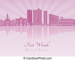 Fort Worth skyline in purple radiant orchid in editable...
