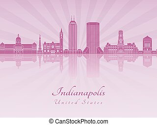 Indianapolis skyline in purple radiant orchid in editable...