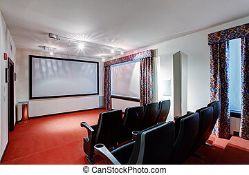 Home TV movie theater entertainment room interior