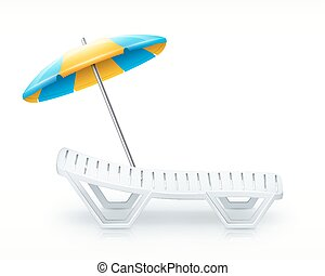 white deck-chair with umbrella beach inventory isolated on...