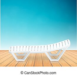 single plastic deck-chair beach inventory on wooden floor...