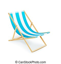 single stripped deck-chair beach inventory isolated on white...
