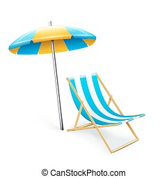 stripped deck-chair with umbrella beach inventory. isolated...