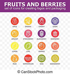 Fruit icon collection - vector illustration