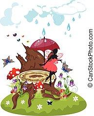 Tree Stump and Fairy - Old tree stump with mushrooms, purple...