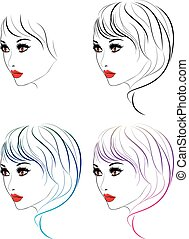 Fashion Hairstyles Lineart - Female face with makeup and...
