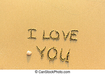 I Love You - hand-written on the sand in line of the sea...