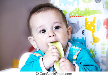 baby eating vegetables. in a high chair. teething , the...