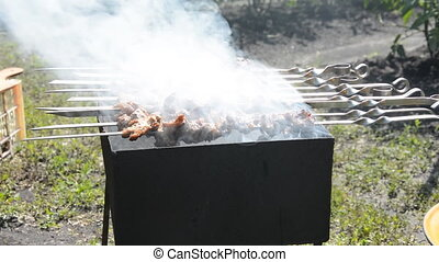 Preparing tasty meat barbeque on skewers. Shashlik grill...