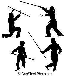 Aikido kids silhouettes with weapons