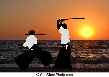 hommes, Pratiquer,  aikido