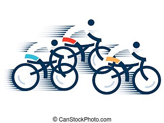 Three Road cyclists - Stylized drawing of cyclists, isolated...