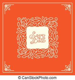 Vector wedding invitation or save the date card design template