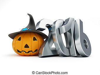 holiday halloween in 2016. 3d Illustrations on a white...