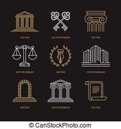 Vector set of logo design templates in trendy linear style -...