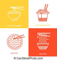 Vector chinese and asian food concepts and logo design...